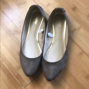 Faux suede taupe flats